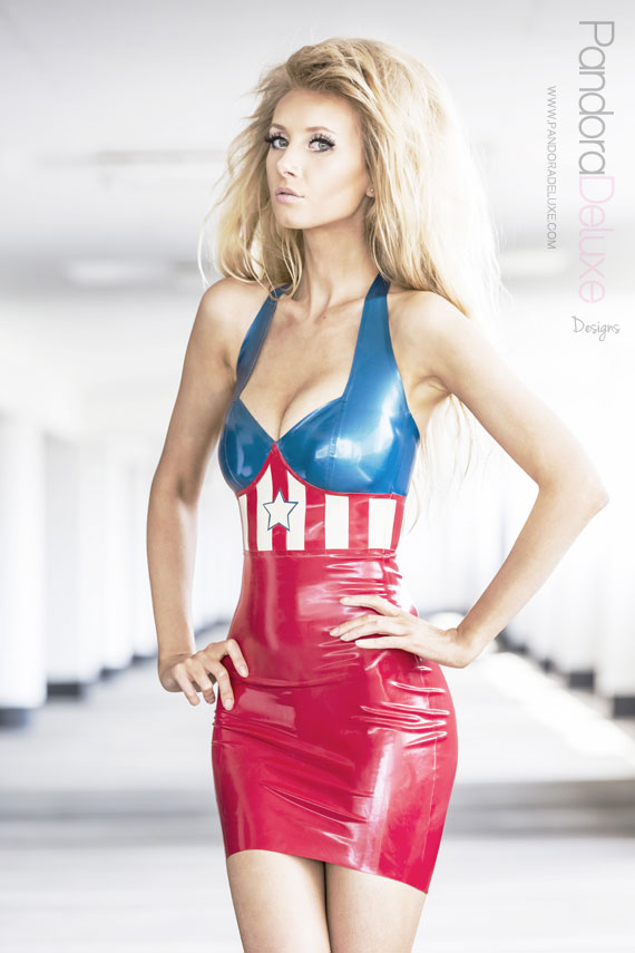Captain America Latex Cosplay Dress