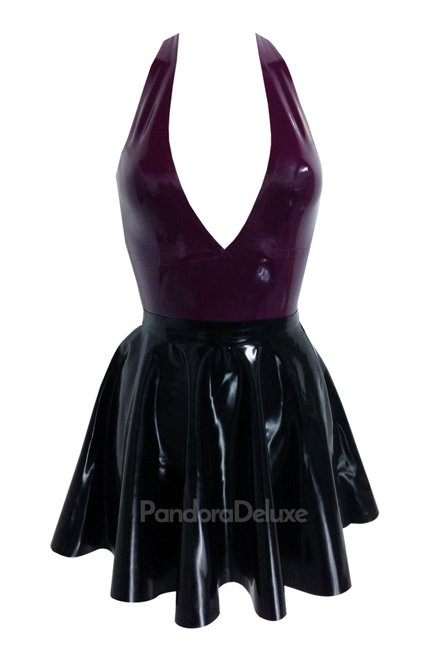 Latex plunge crop top and latex skater skirt by Pandora Deluxe
