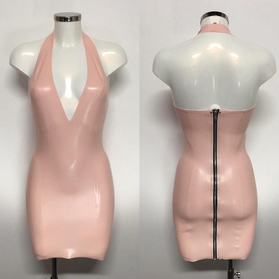 Latex plunge dress