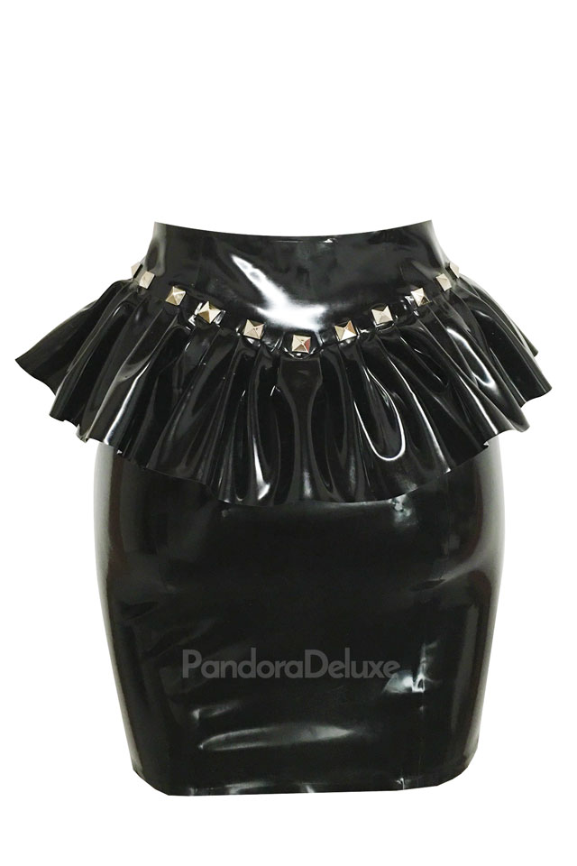 Nadine ruffle peplum skirt with studs.