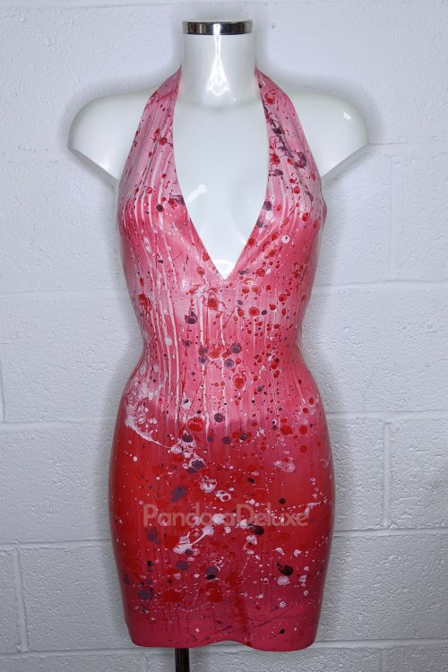 Blood Splatter Latex Plunge Dress by Pandora Deluxe