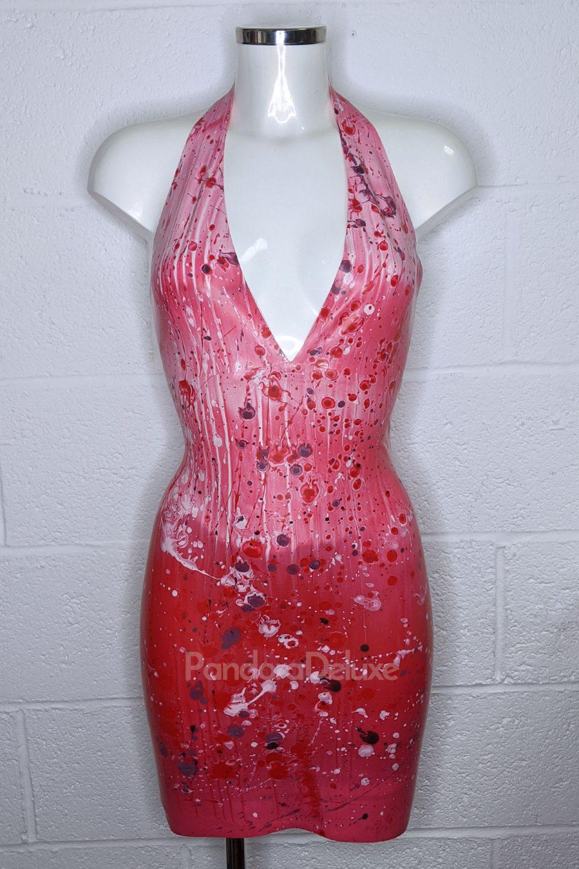 Blood Splatter Latex Plunge Dress by Pandora Deluxe