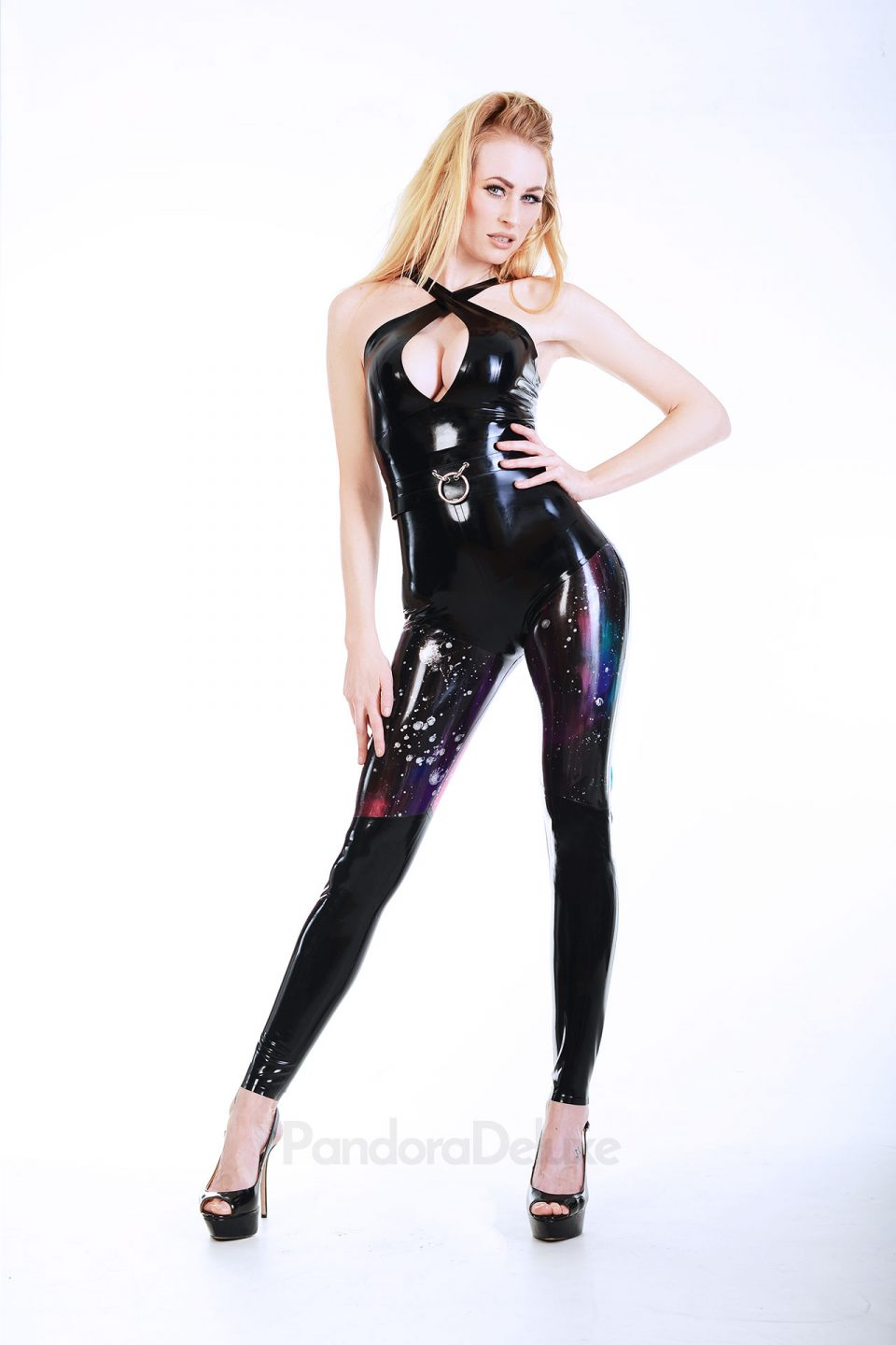 Galaxy panel latex leggings