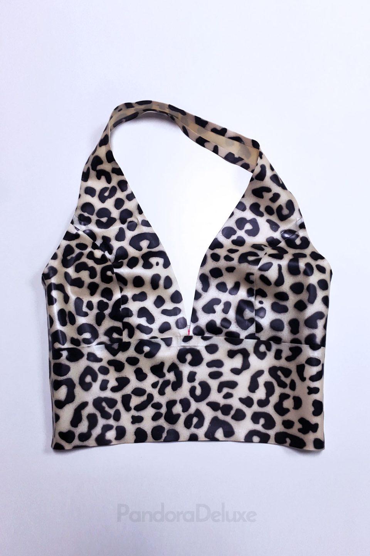 Selina Leopard Latex Plunge Top – Pandora Deluxe