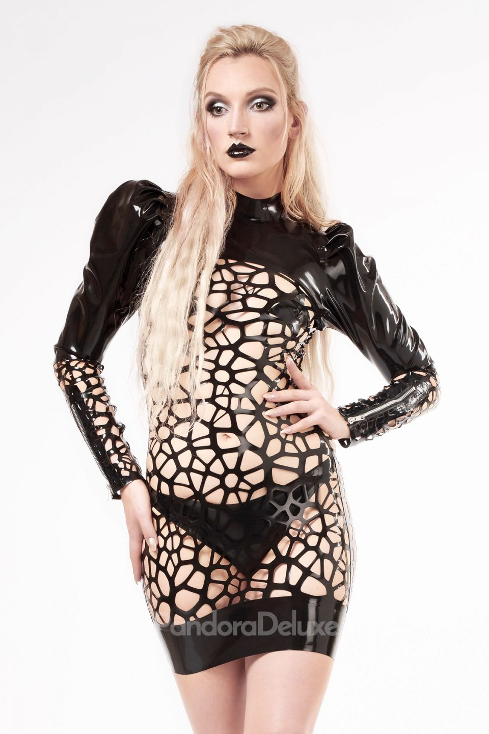 Astra organic structure lace puff sleeve latex dress by Pandora Deluxe