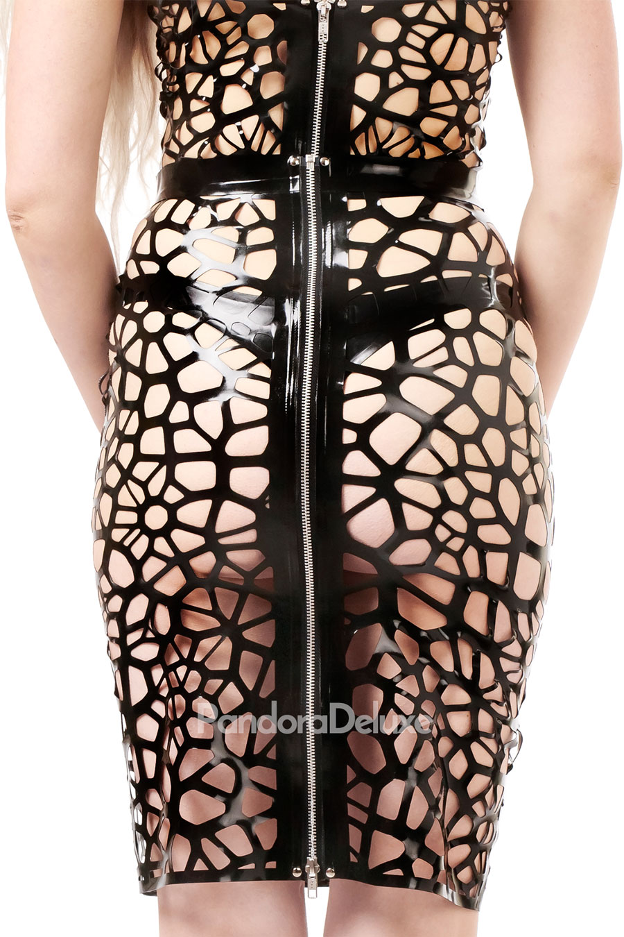 Astra Organic Structure Net Latex Pencil Skirt by Pandora Deluxe