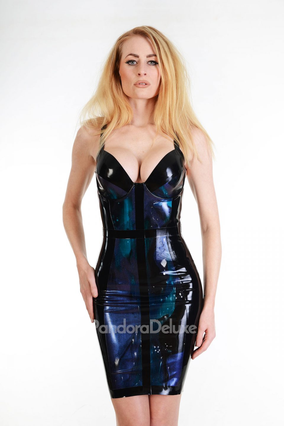 Cyan latex dress by Pandora Deluxe