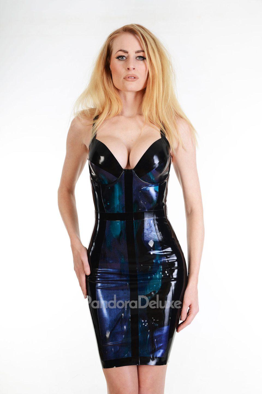 Cyan latex dress by Pandora Deluxe