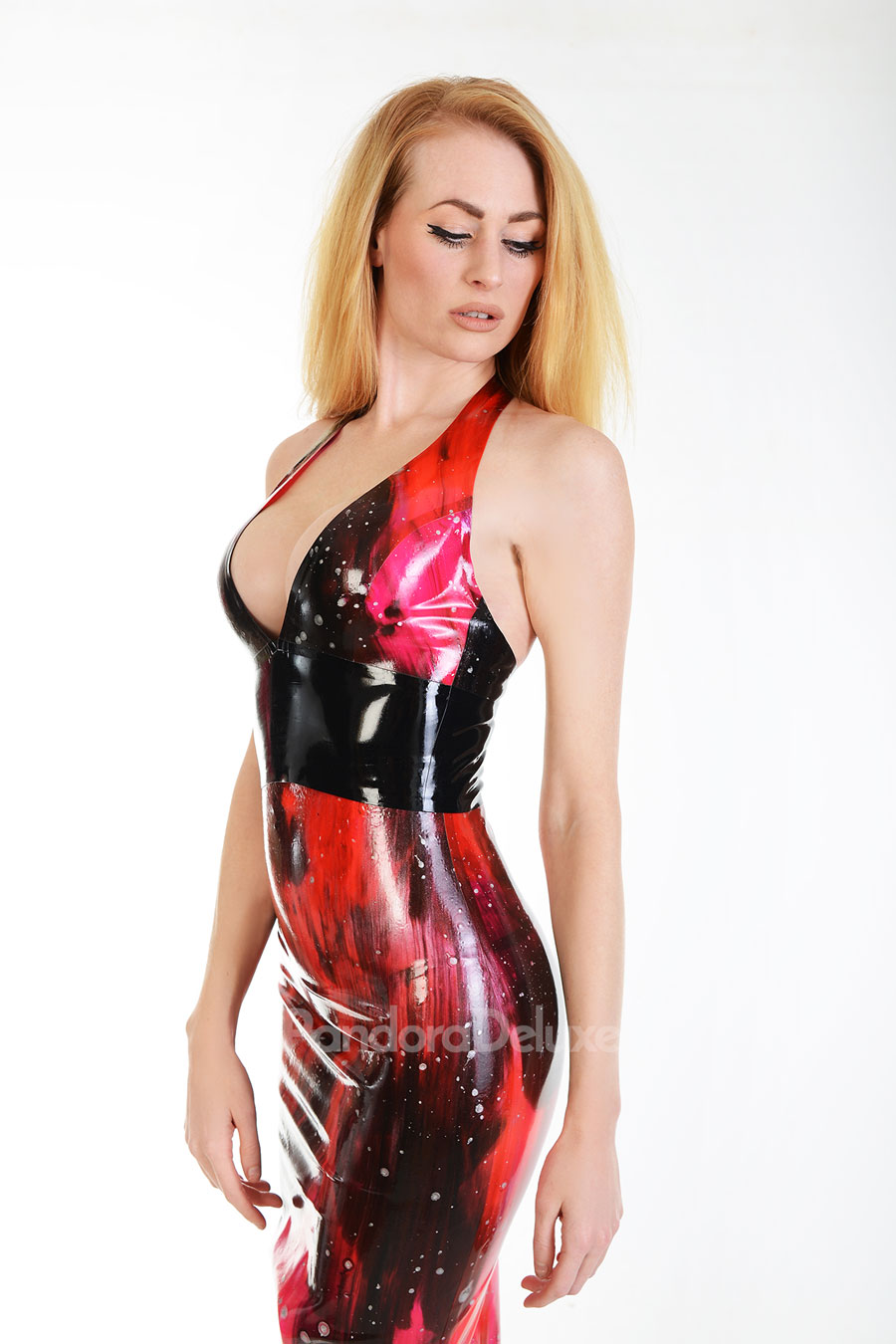 Galaxy Latex Plunge Top by Pandora Deluxe