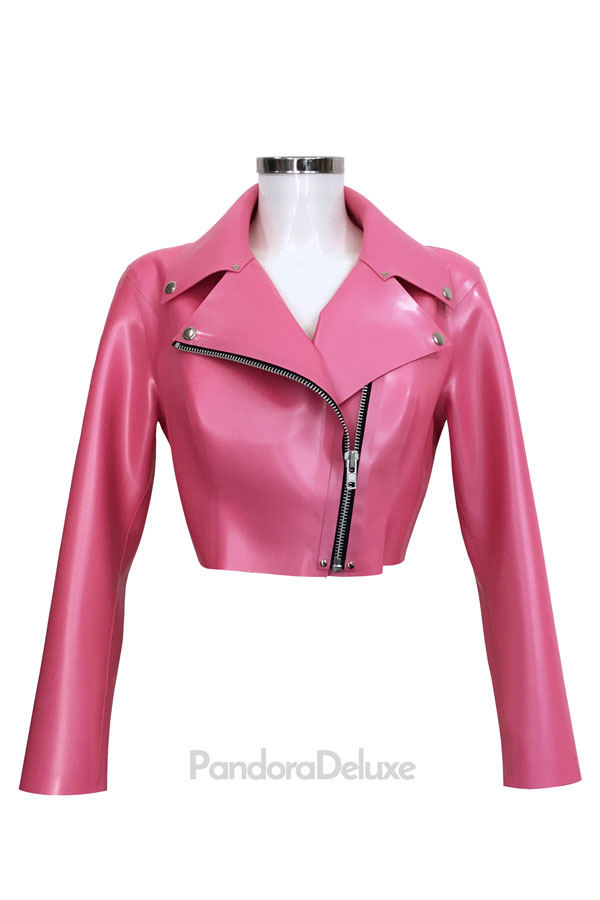 Latex Cropped Biker Jacket by Pandora Deluxe