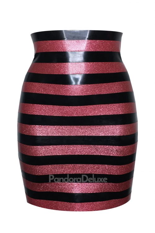 Glitter stripe latex skirt by Pandora Deluxe