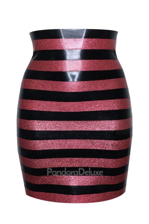 Glitter stripe latex skirt by Pandora Deluxe