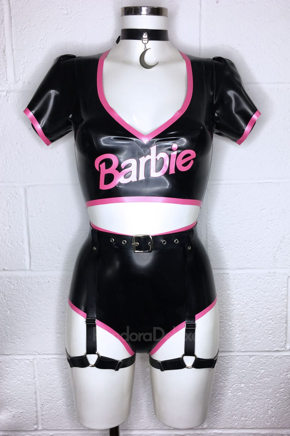 Goth Barbie Latex Set with Harness by Pandora Deluxe