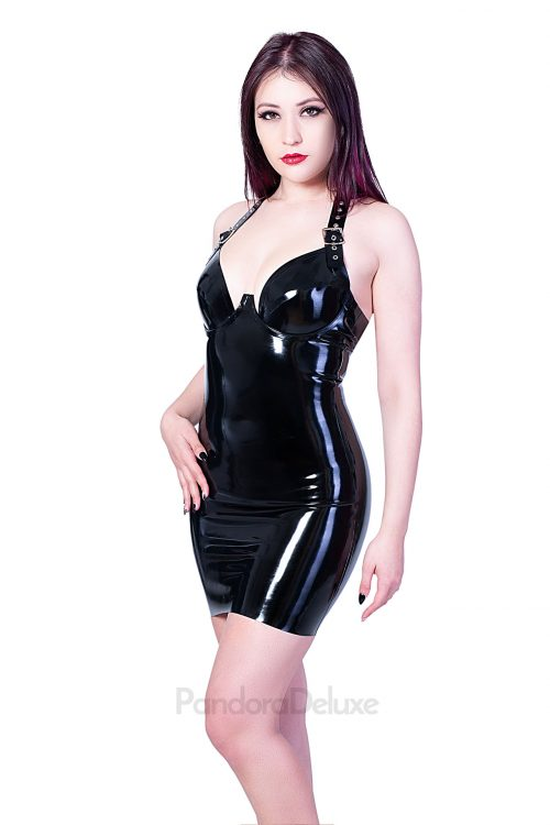 Buckle Strap Latex Dress by Pandora Deluxe
