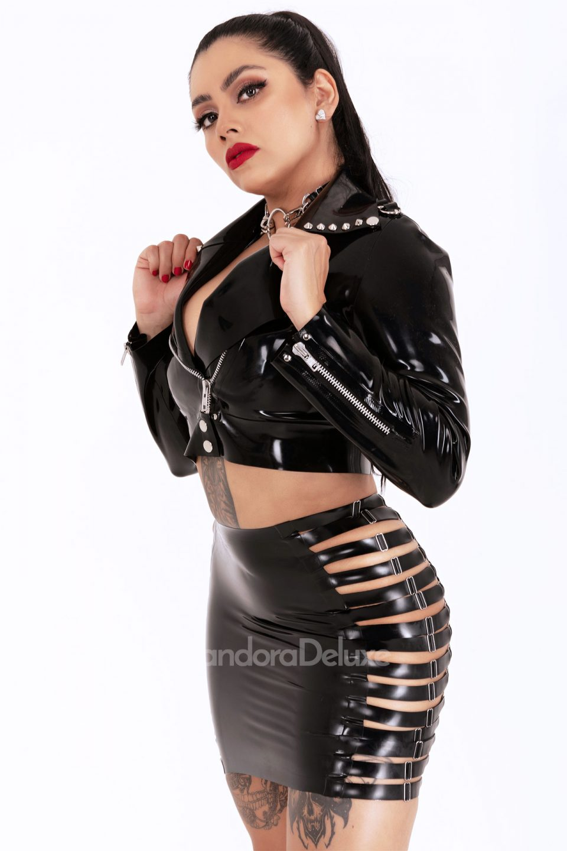Raven Multi Strap Latex Skirt by Pandora Deluxe