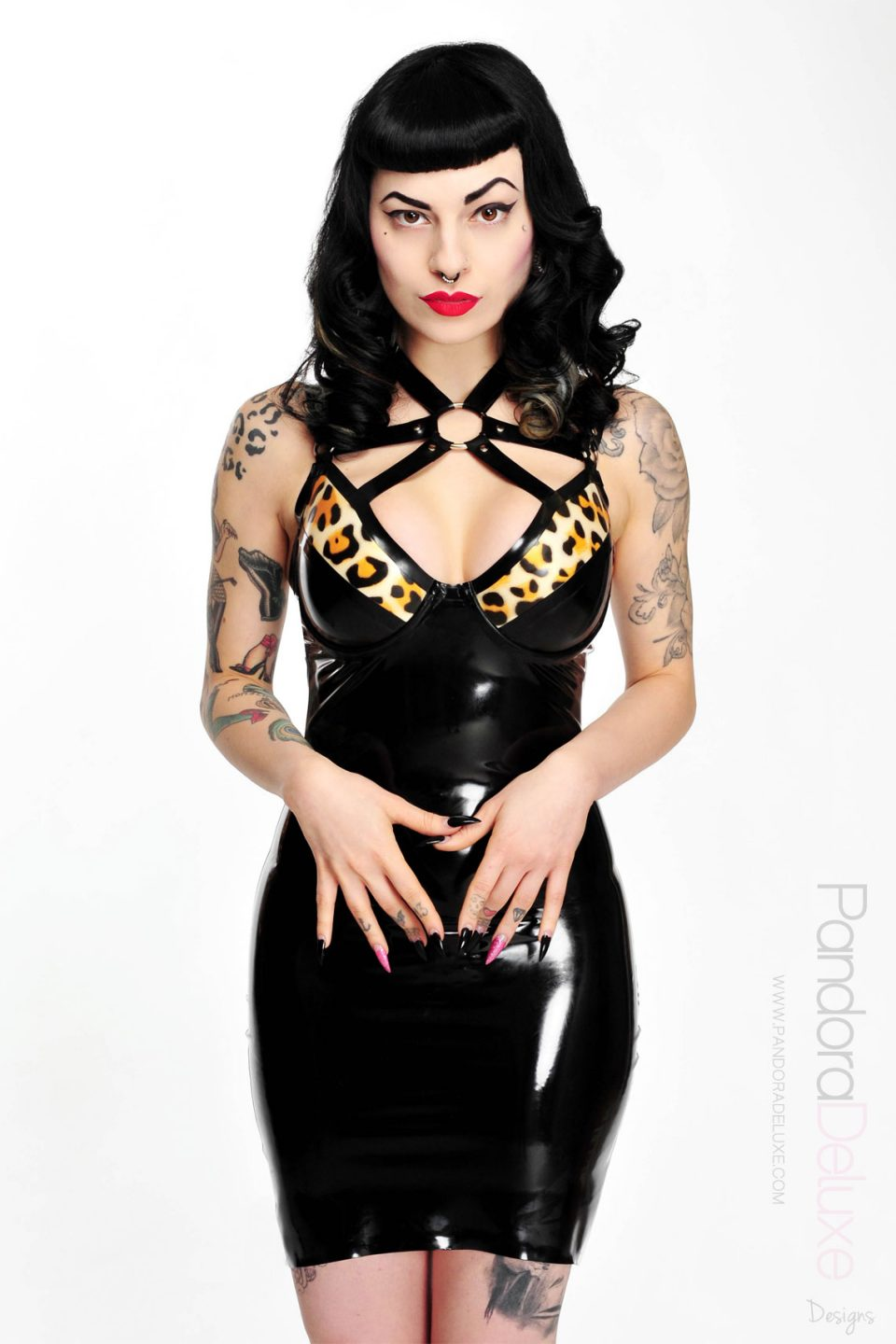 faye latex harness dress