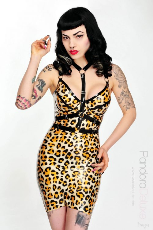 selina leopard print latex dress