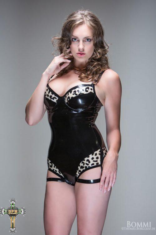 Tasha Leopard Print Latex Bodysuit